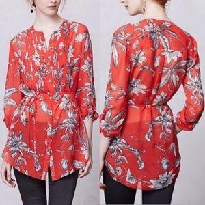86cdc8bb26d079 Anthropologie Tops - Leifsdottir Silk Red Floral Tunic Button Up Blouse